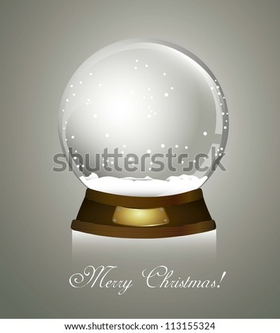 christmas snow globe over gray background, merry christmas. vector - stock vector