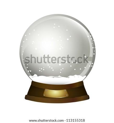 christmas snow globe over white background. vector illustration - stock vector