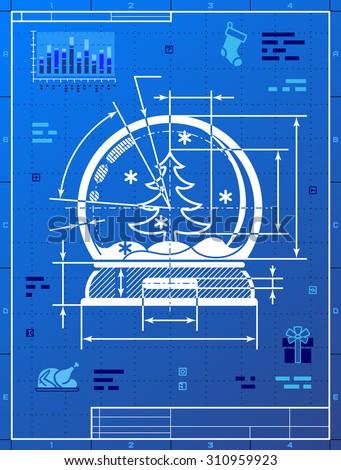 Christmas snow globe symbol blueprint drawing vectores en stock christmas snow globe symbol as blueprint drawing drafting of snow dome on blueprint paper malvernweather Choice Image