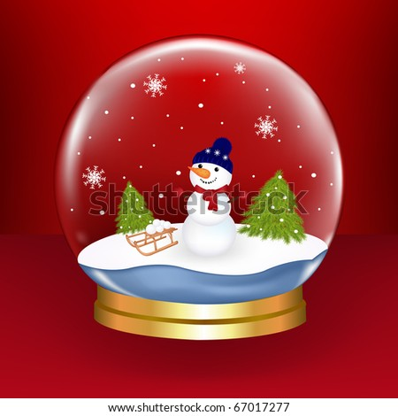 Christmas Snow Globe With Snowman And Fur-trees, On Red Background, Vector Illustration - stock vector