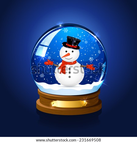 Christmas snow globe with snowman on blue background, illustration. - stock vector