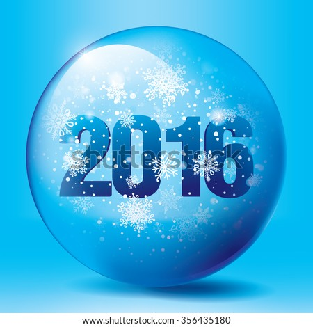 Christmas snow globe with the falling snow and 2016 text inside, editable vector illustration. - stock vector