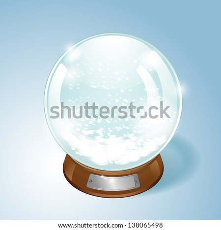 Christmas Snow globe with the falling snow. EPS10 vector. - stock vector