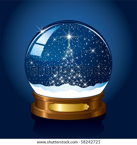 Christmas Snow globe with the falling snow, illustration - stock vector