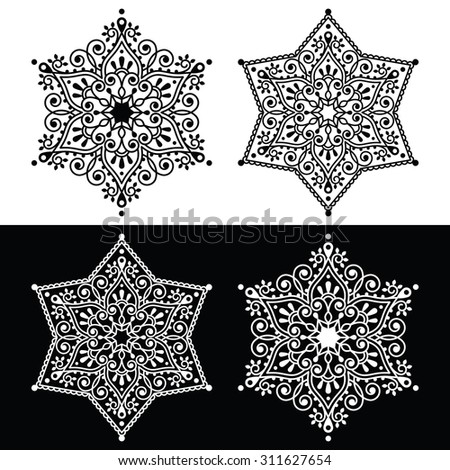 Christmas snowflake decoration - embroidery style  - stock vector