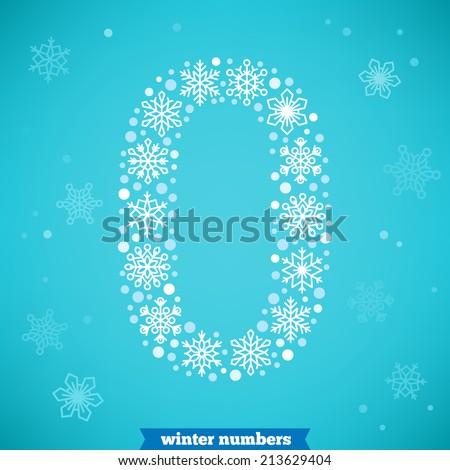 Christmas snowflake numbers. Number zero - stock vector