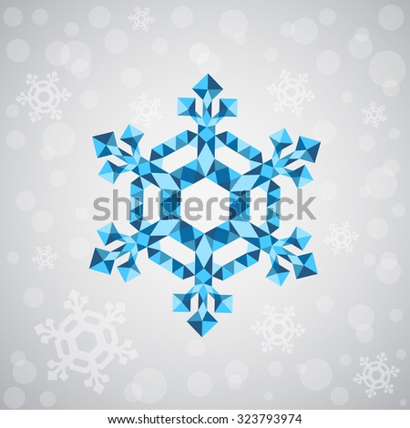 Christmas snowflake of geometric shapes. Sign of the blue snowflake. Christmas, New Year card illustration. Holiday design.  On the silver background white snowflakes and snowfall. - stock vector