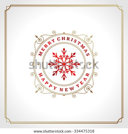 Christmas snowflake retro typographic and ornament decoration. Merry Christmas holidays wish greeting card and vintage background. Happy new year message. Vector illustration Eps 10. - stock vector