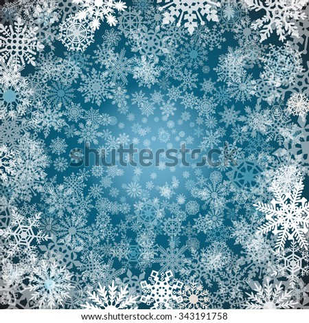 Christmas snowflakes background Blue background with snowflakes. Vector illustration art - stock vector
