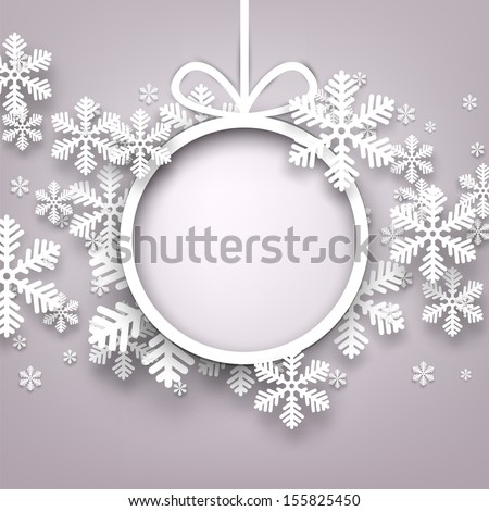 Christmas snowflakes background with paper round ball. Vector eps10. - stock vector