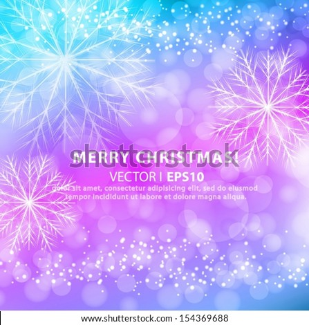 Christmas snowflakes blue and purple background. Vector EPS 10 illustration. - stock vector