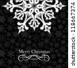 Christmas snowflakes greeting card over seamless pattern. Vector illustration layered for easy manipulation and custom coloring. - stock vector