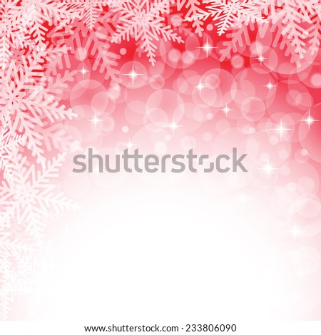 Christmas snowflakes on red background. Vector illustration.  - stock vector