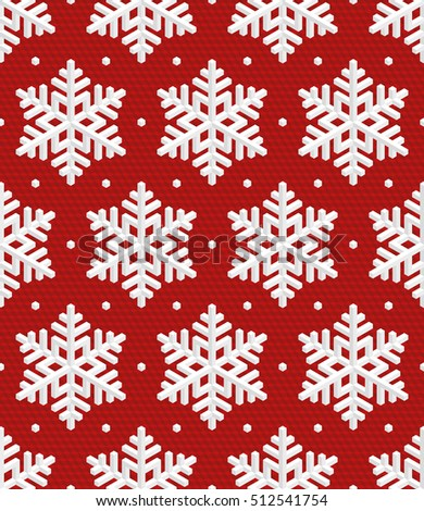 Christmas Snowflakes! Traditional Christmas Seamless Pattern with White Isometric 3D Snowflakes on wine red background. Editable Vector EPS10 Illustration for New Year Decoration.