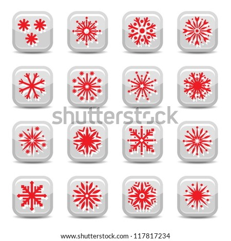 Christmas Snowflakes Vector Icon Set for web and mobile. All elements are grouped. - stock vector