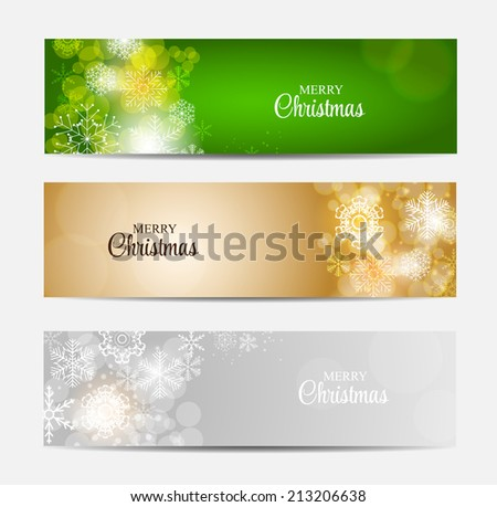 Christmas Snowflakes Website Header and Banner Set Background Vector Illustration EPS10