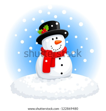 Christmas snowman - stock vector