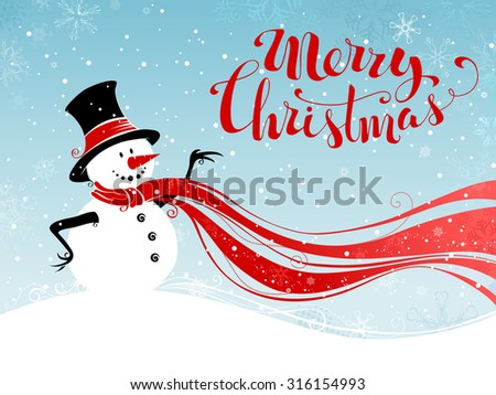 Christmas snowman background. Cute snowman in hat and long red scarf. Hand-written Merry Christmas.