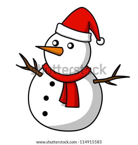 Christmas Snowman Cartoon Stock Vector 114915583