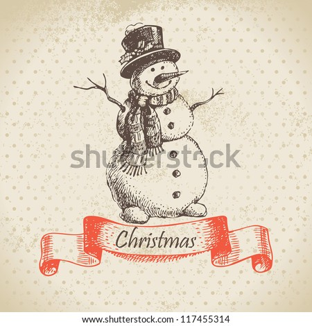 Christmas snowman. Hand drawn illustration - stock vector