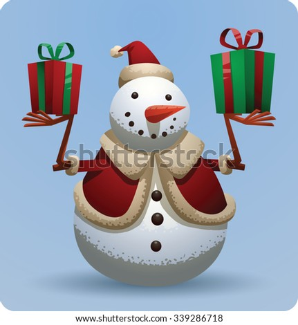 Christmas snowman in christmas hat holding two gift boxes, vector - stock vector