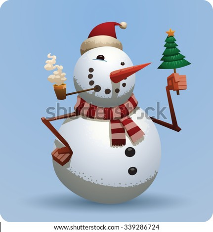 Christmas snowman in red christmas hat and green scarf smoking and holding a little christmas tree with gold star on top, vector - stock vector