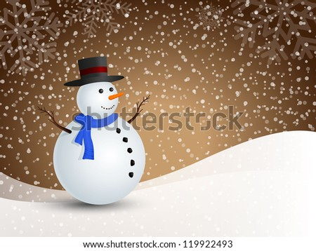 Christmas snowman in snowy winter for illustration.