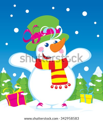 Christmas snowman is happy holiday