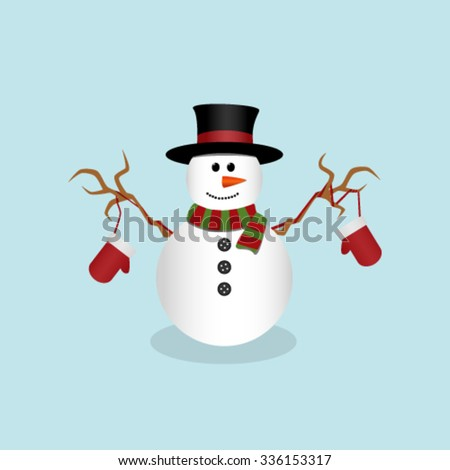 Christmas snowman isolated on light blue background