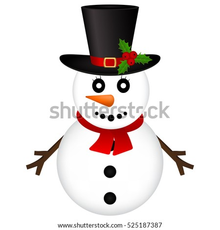 Christmas Snowman on white background vector illustration