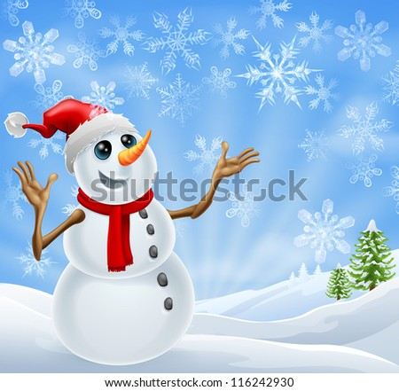Christmas Snowman standing in a winter landscape with snowflakes and Christmas trees - stock vector