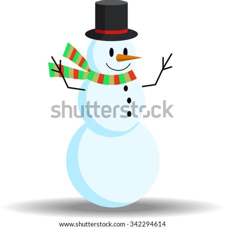 Christmas Snowman Vector - stock vector