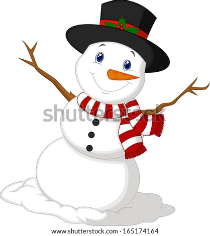 Christmas Snowman wearing a Hat and red scarf