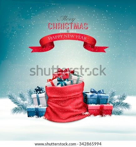 Christmas snowy background with a red sack with gift boxes. Vector. - stock vector