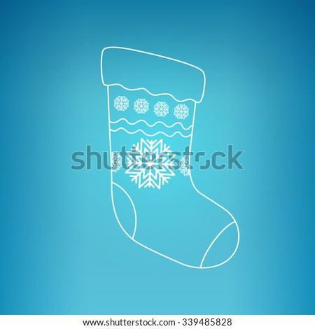 Christmas Sock Decorated Snowflakes on a Blue Background, Christmas Decorations, Drawing in Linear Style ,  Vector Illustration - stock vector