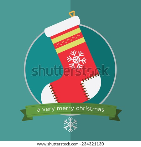 Christmas sock  in flat design. Vector. Illustration  - stock vector