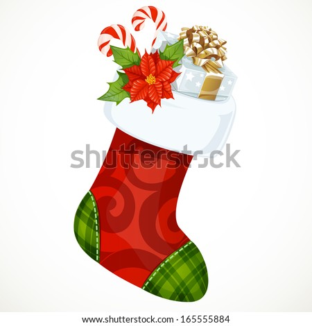 Christmas sock with gifts - stock vector