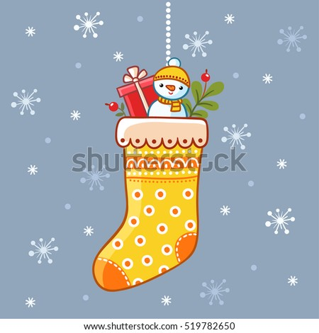 Christmas sock with gifts. Christmas vector illustration in a children's style.