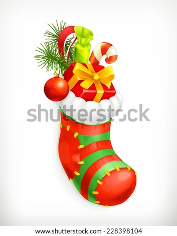 Christmas sock with gifts, vector icon - stock vector