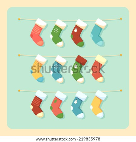 Christmas Socks - stock vector