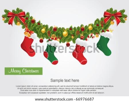 christmas socks - stock vector