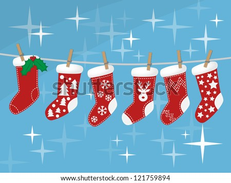 Christmas socks hanging on rope on colorful background, vector