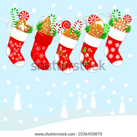 Christmas socks with sweets. Christmas socks for gifts on an abstract background.