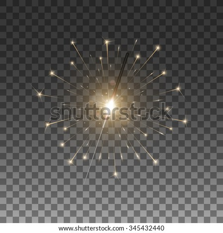 Christmas sparkler, bengal light. Isolated on black transparent background. Vector illustration, eps 10. - stock vector