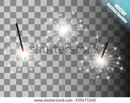 Christmas sparkler set. Vector eps10 - stock vector
