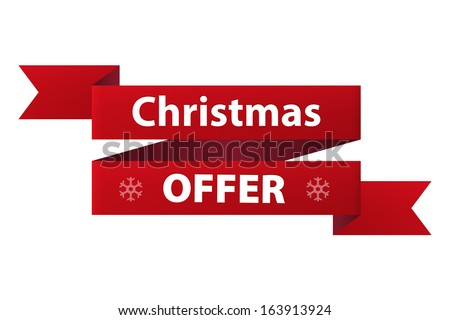 Christmas Special offer red ribbon banner icon isolated on white background. Vector illustration