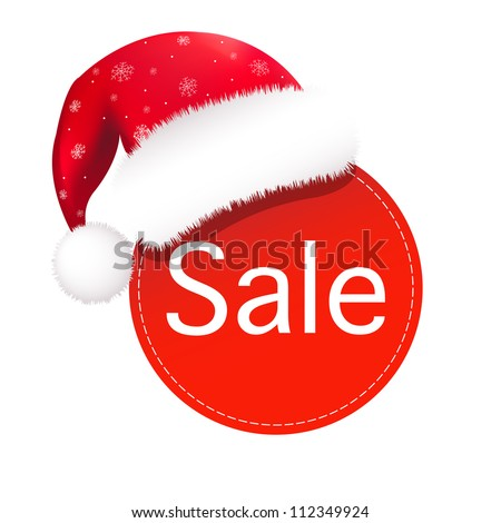 Christmas Speech Bubble With Santa Claus Hat, Vector Illustration - stock vector