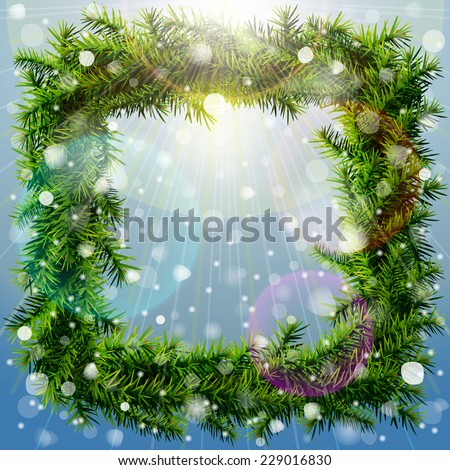 Christmas square wreath with overhead lighting and snowfall. Wreath of pine branches without decoration. Vector image for new year's day, christmas, decoration, winter holiday, design, silvester, etc  - stock vector