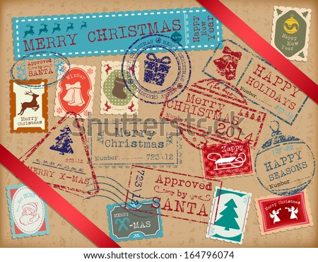 Christmas Stamps. Retro Christmas stamp. Passport Stamps  - stock vector