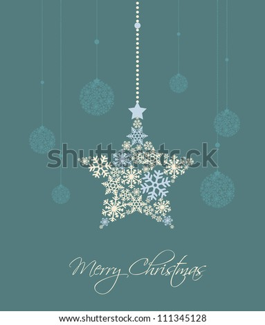 christmas star and decoration ball on a blue background - stock vector